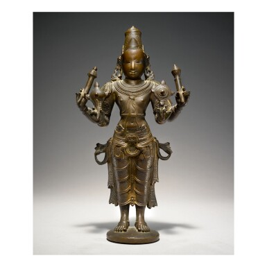 View 1. Thumbnail of Lot 357. A COPPER ALLOY FIGURE OF VISHNU SOUTH INDIA, VIJAYANAGAR, 15TH CENTURY.