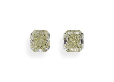 A Pair of 1.36 and 1.31 Carat Cut-Cornered Rectangular Modified Brilliant-Cut Diamonds, Y-Z Color, VS2 and VS1 Clarity