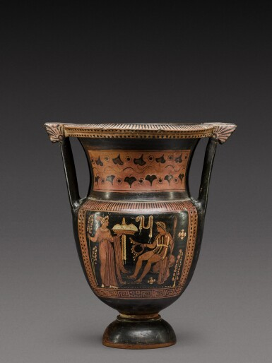 View 1. Thumbnail of Lot 35. An Apulian Red-figured Column Krater, attributed to the Painter of the Truro Pelike, circa 350-330 B.C. .