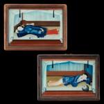 Chinese School, early 19th century Two Reclining Ladies on Day Bed | 中國畫派 十九世紀初    美人春睡圖一組兩幅   玻璃畫作 木框