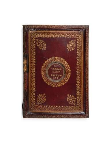 A FRENCH RED MOROCCO PORTABLE ALTAR, 18TH CENTURY [AUTEL PORTATIF EN BOIS RECOUVERT DE MAROQUIN ROUGE, FRANCE, XVIIIE SIÈCLE]