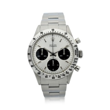 View 1. Thumbnail of Lot 5. ROLEX | REFERENCE 6262 DAYTONA  A STAINLESS STEEL CHRONOGRAPH WRISTWATCH WITH BRACELET, CIRCA 1971.