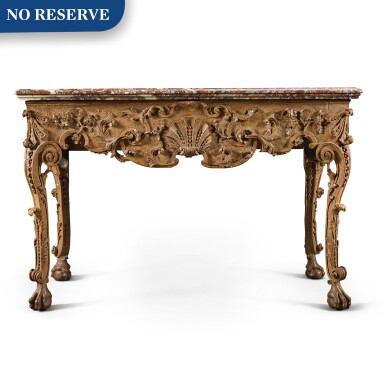 View 1. Thumbnail of Lot 54. A Franco-Flemish carved and stained walnut console table, probably Liège, early 18th century.