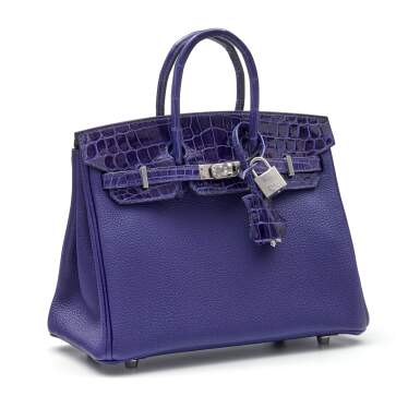 View 2. Thumbnail of Lot 341. Bleu Encre Touch Birkin 25cm in Togo Leather and Shiny Niloticus Crocodile with Palladium Hardware, 2018.