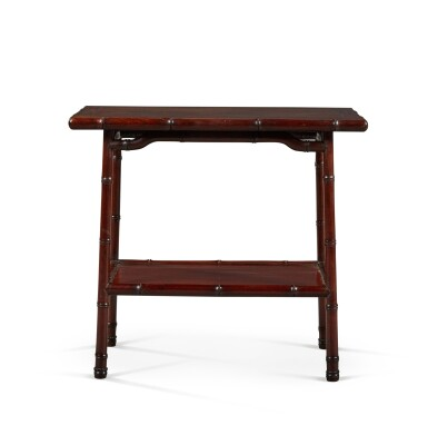 View 3. Thumbnail of Lot 141. A PAIR OF CHINESE HARDWOOD OCCASIONAL TABLES, EARLY 20TH CENTURY.