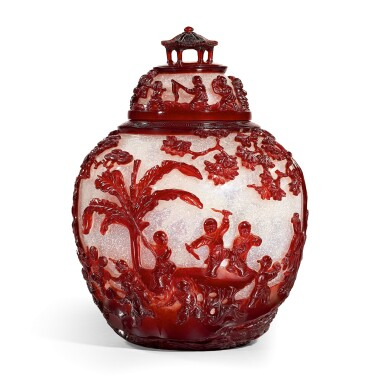 View 1. Thumbnail of Lot 3606. An extremely rare and superb ruby-red overlay Peking glass jar and cover Seal mark and period of Qianlong   清乾隆 雪霏地套寶石紅料庭園仕女嬰戲圖蓋罐 《乾隆年製》款.