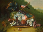 MANNER OF WILLIAM JONES OF BATH | STILL LIFE WITH MIXED FRUIT IN A BASKET AND A BULLFINCH; AND STILL LIFE WITH MIXED FRUIT AND A RED SQUIRREL ON A STONE LEDGE