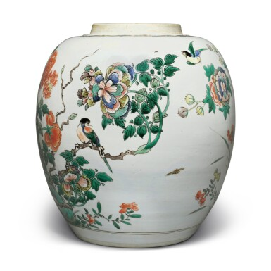 View 2. Thumbnail of Lot 4. A famille-verte 'bird and flower' jar, Qing dynasty, Kangxi period.