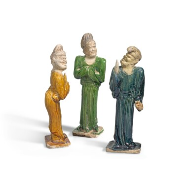 View 1. Thumbnail of Lot 223. THREE POTTERY FIGURES OF FOREIGNERS, TANG DYNASTY | 唐 胡人陶俑一組三件.