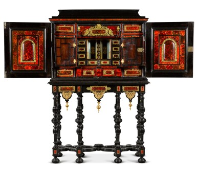View 3. Thumbnail of Lot 41. A Flemish Baroque gilt-metal mounted ebony, rosewood, tortoiseshell, ivory, inlaid and carved cabinet-on-stand, probably Antwerp, late 17th century.