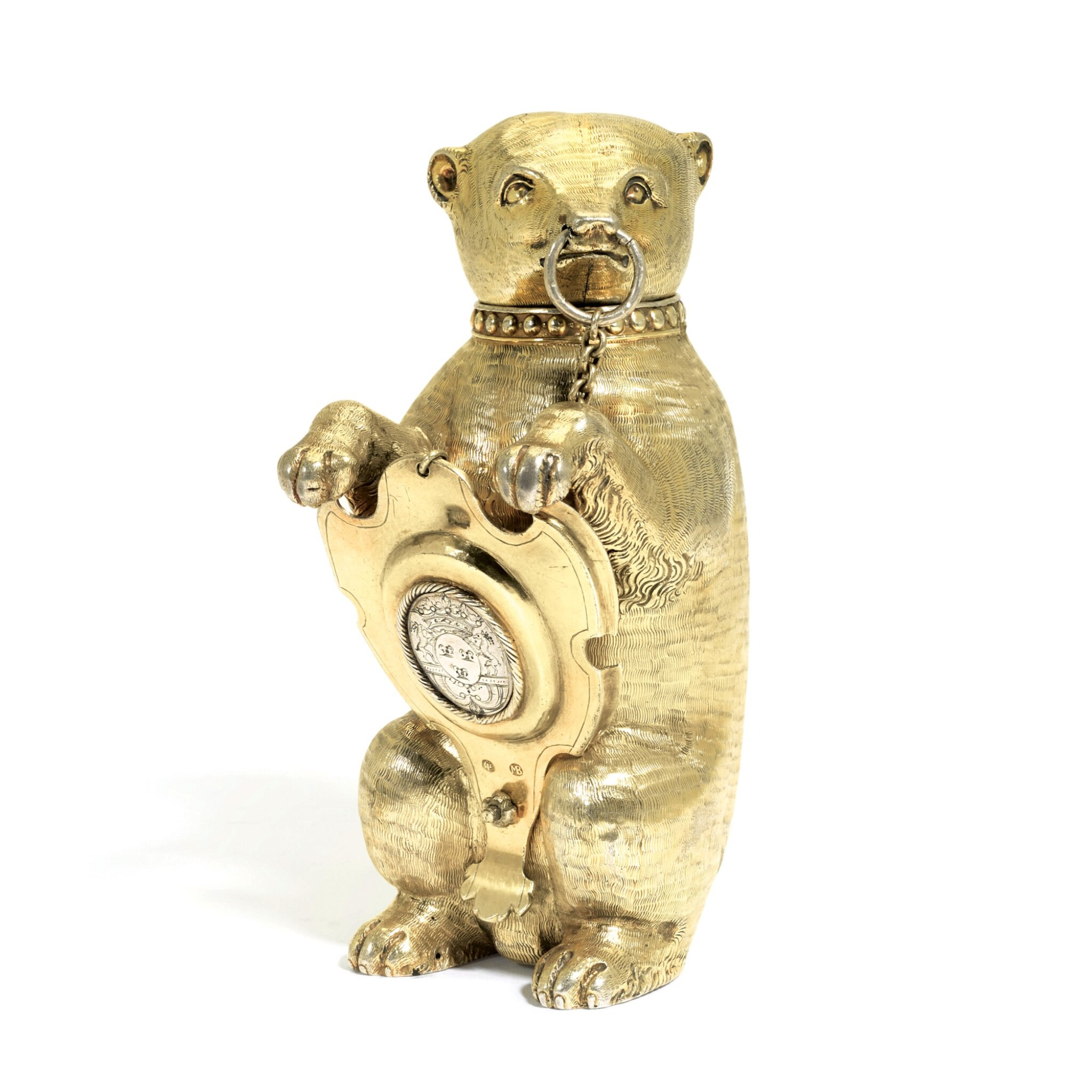 View full screen - View 1 of Lot 6. A German silver-gilt cup and cover in the form of a bear, maker's mark only MV conjoined (the shield Melchior Bair), Augsburg, circa 1600.