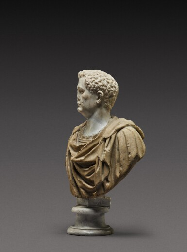 View 4. Thumbnail of Lot 108. A Roman Marble Portrait Bust of a Man, the head circa A.D. 80, the shoulders 2nd Century A.D..