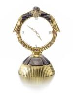GEM SET AND DIAMOND DESK CLOCK, ASPREY