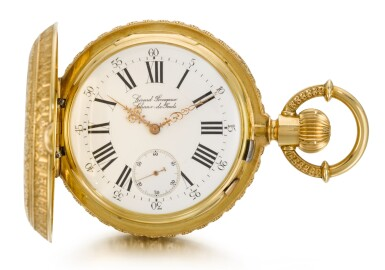 View 2. Thumbnail of Lot 92. GIRARD-PERREGAUX, CHAUX-DE-FONDS [芝柏,拉紹德封] | A RARE AND HEAVY GOLD HUNTING CASED KEYLESS ONE-MINUTE TOURBILLON WATCH WITH PIVOTED DETENT CHRONOMETER ESCAPEMENT,  CIRCA 1890, THREE BRIDGE TOURBILLON [罕有黃金一分鐘陀飛輪懷錶備天文鐘擒縱系統,年份約1890,三橋陀飛輪].