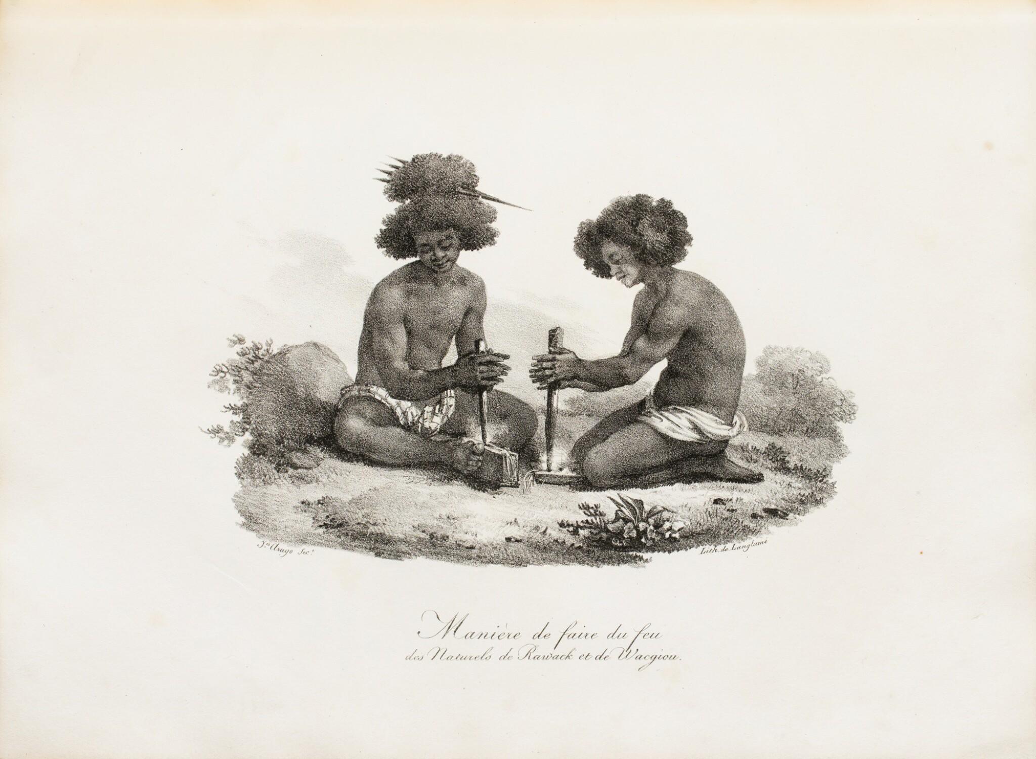 "View full screen - View 1 of Lot 37. ARAGO (Jacques). Atlas pour ""Promenade autour du monde"" [1822]. Petit in-folio 1/2 basane verte."