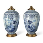 A PAIR OF DUTCH DELFT BLUE AND WHITE OCTAGONAL VASES, 19TH CENTURY