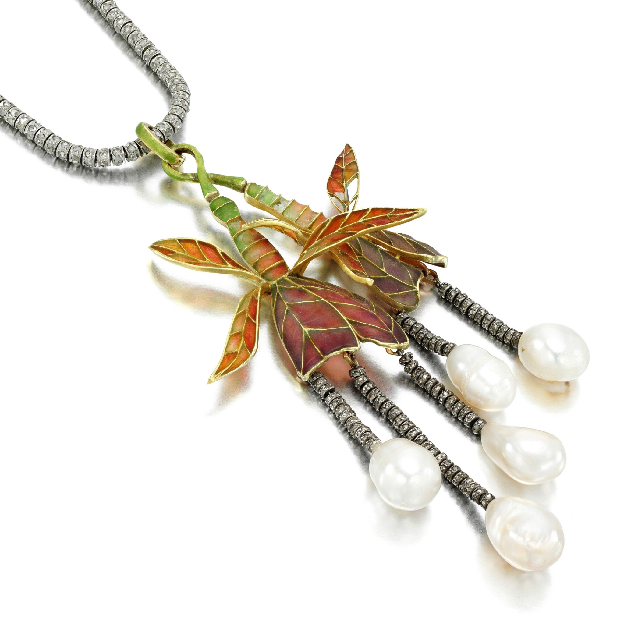 View full screen - View 1 of Lot 3. Natural pearl, diamond and enamel pendant necklace, circa 1900.