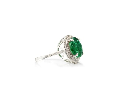 View 2. Thumbnail of Lot 20. EMERALD AND DIAMOND RING.