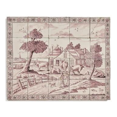 A DUTCH DELFT MANGANESE TILE PANEL OF A FARM SCENE, 19TH CENTURY