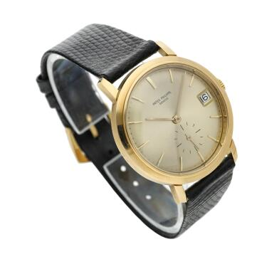 View 3. Thumbnail of Lot 246. Reference 3445  A yellow gold automatic wristwatch with date, Made in 1972.