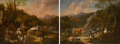 ATTRIBUTED TO JOHANN HEINRICH ROOS   A MOTHER AND CHILD WITH HORSES, CATTLE AND SHEEP BY A FOUNTAIN IN A LANDSCAPE; A HERDSMAN WITH CATTLE, SHEEP AND GOATS BY A WATERFALL IN A LANDSCAPE