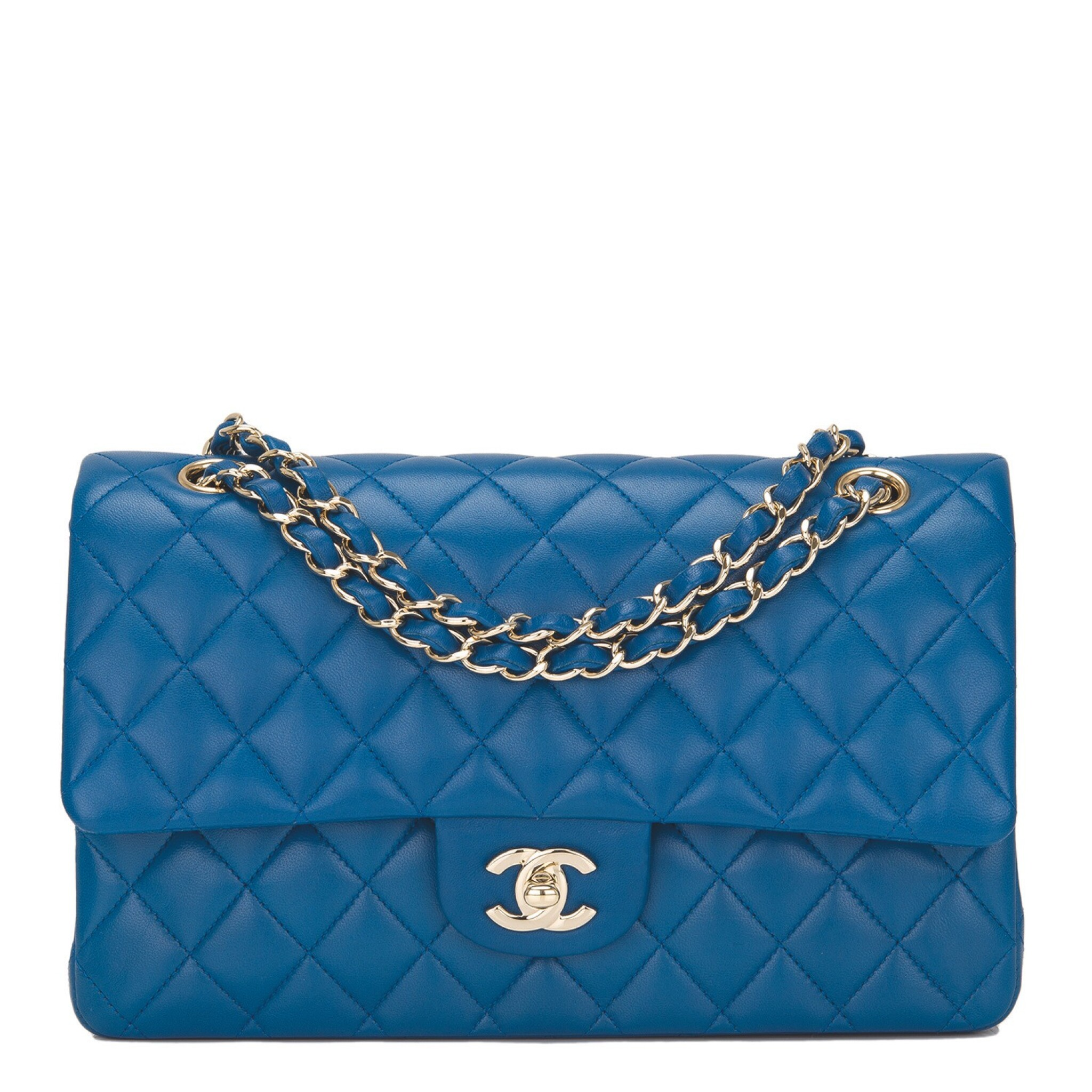 View full screen - View 1 of Lot 43. Chanel Blue Quilted Medium Classic Double Flap Bag of Lambskin Leather with Light Gold Tone Hardware.