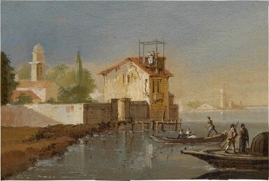 View 3. Thumbnail of Lot 103. View of a port, with fishermen coming to shore; A fisherman along a riverbank, a hillside town beyond.