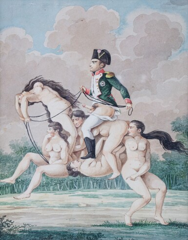 View 1. Thumbnail of Lot 42. French School circa 1810, Napoléon riding on a horse made of nude women.