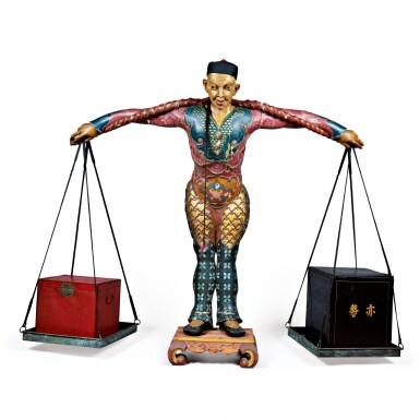 VERY FINE AND RARE CARVED AND PAINT DECORATED TEA SHOP TRADE FIGURE WITH TEA BOXES, AMERICAN OR ENGLISH, 19TH CENTURY