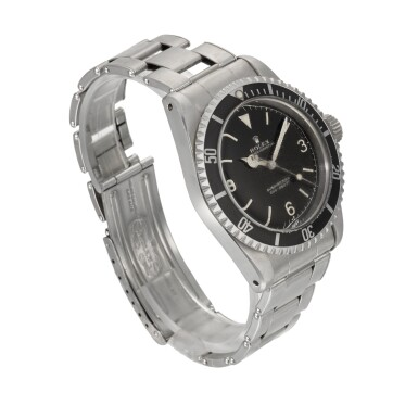 View 3. Thumbnail of Lot 2. 'Explorer Dial' Submariner, Ref. 5513 Stainless Steel Wristwatch With Gilt Exclamation Point Dial, Date and Bracelet Circa 1962.