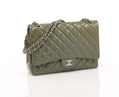 View 1. Thumbnail of Lot 43. Green/grey patent leather with silver-tone metal classic shoulder bag.