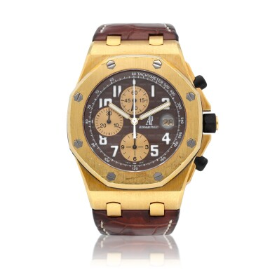 """View 1. Thumbnail of Lot 38. Royal Oak Offshore Chronograph """"Arnold Schwarzenegger"""" reference 26007BA.OO.D088CR.01 A 18k yellow gold automatic chronograph wristwatch with date, circa 2004."""