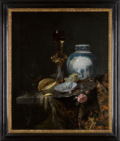 View 2. Thumbnail of Lot 38. Still life with a Chinese ginger jar, silver, objects of vertu, a cut melon, bread, a paper packet in a porcelain bowl, and a pink rose, all on a table draped with a Persian carpet | 《靜物:桌上的瓷薑罐、古董銀器、切開的蜜瓜、麵包、瓷碟上的紙捲與粉紅玫瑰,桌面鋪波斯毛毯》.
