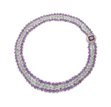 View 1. Thumbnail of Lot 17. AMETHYST, PRASIOLITE AND DIAMOND NECKLACE, MICHELE DELLA VALLE.