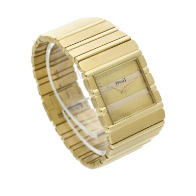 View 3. Thumbnail of Lot 30. Reference 7131 C 701 Polo  A yellow gold square shaped bracelet watch, Circa 1985 .