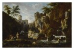 CIRCLE OF CLAUDE-JOSEPH VERNET |  VIEW OF THE WATERFALLS AT TIVOLI WITH FISHER FOLK, THE VILLA OF MAECENAS BEYOND