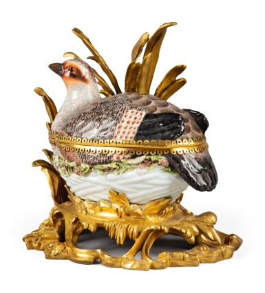 View 3. Thumbnail of Lot 91. A MEISSEN PORCELAIN PARTRIDGE-FORM TUREEN AND COVER, MOUNTED ON A ROCOCO GILT BRONZE BASE, EARLY 19TH CENTURY.