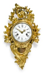 A LOUIS XV GILT BRONZE CARTEL CLOCK, MID-18TH CENTURY