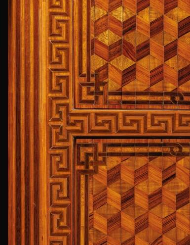 View 3. Thumbnail of Lot 15. A GILT-BRONZE MOUNTED, TULIPWOOD, KINGWOOD AND SYCAMORE PARQUETRY SECRÉTAIRE FILING CABINET, LOUIS XV, ATTRIBUTED TO JEAN-FRANÇOIS OEBEN, CIRCA 1760 | SECRÉTAIRE FORMANT SERRE-PAPIERS EN PLACAGE DE BOIS DE ROSE, BOIS DE VIOLETTE, SYCOMORE ET BRONZE DORÉ D'ÉPOQUE LOUIS XV, VERS 1760, ATTRIBUÉ À JEAN-FRANÇOIS OEBEN.