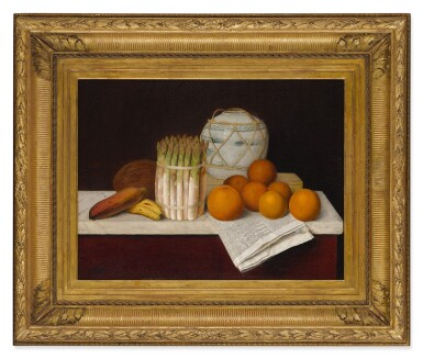 View 2. Thumbnail of Lot 6. WILLIAM MICHAEL HARNETT   FRUIT AND ASPARAGUS.