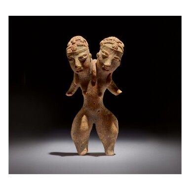 TLATILCO TWO-HEADED FEMALE FIGURE, TYPE D1 EARLY PRECLASSIC, CIRCA 1200-900 BC