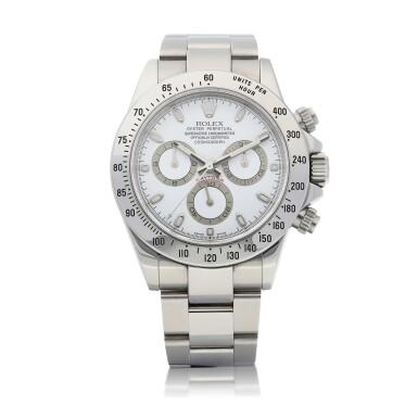 View 1. Thumbnail of Lot 8025. Rolex | Cosmograph Daytona, Reference 116520, A stainless steel chronograph wristwatch with bracelet, Circa 2006 | 勞力士 | Cosmograph Daytona 型號116520   精鋼計時鏈帶腕錶,約2006年製.