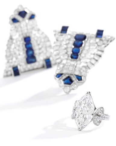 View 3. Thumbnail of Lot 603. SAPPHIRE AND DIAMOND DOUBLE CLIP-BROOCH | 藍寶石配鑽石別針.