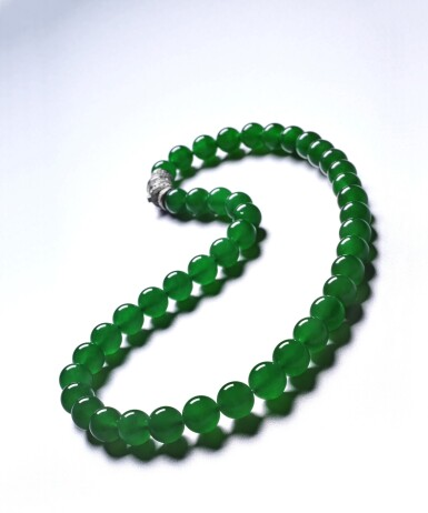 """View 3. Thumbnail of Lot 1662. AN EXTREMELY RARE AND EXCEPTIONAL """"IMPERIAL GREEN"""" JADEITE BEAD AND DIAMOND NECKLACE 