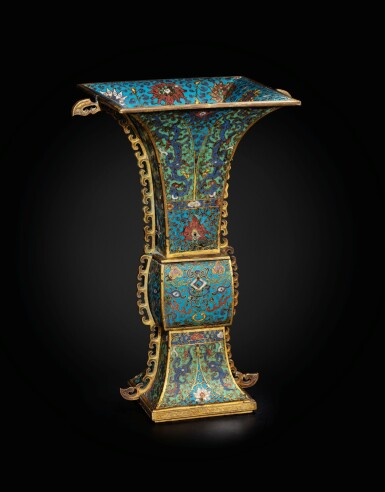 View 2. Thumbnail of Lot 178. A large gilt-bronze and cloisonné enamel ceremonial vase, fanggu 17th century | 十七世紀 掐絲琺瑯獸面紋出戟方觚.