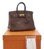 Matte havanne niloticus crocodile, canvas and gold plated hardware handbag, Birkin 35, Hermès, 2002