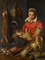A female merchant holding a cockerel, with game, asparagus, artichokes, utensils and a bowl of wild strawberries