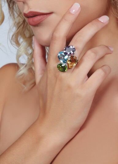 View 4. Thumbnail of Lot 15. GEM SET AND DIAMOND RING, MICHELE DELLA VALLE.