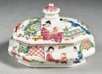 AN EARLY MEISSEN DUTCH-DECORATED OCTAGONAL SUGAR BOX AND COVER THE PORCELAIN CIRCA 1720-25, THE DECORATION CIRCA 1730-35