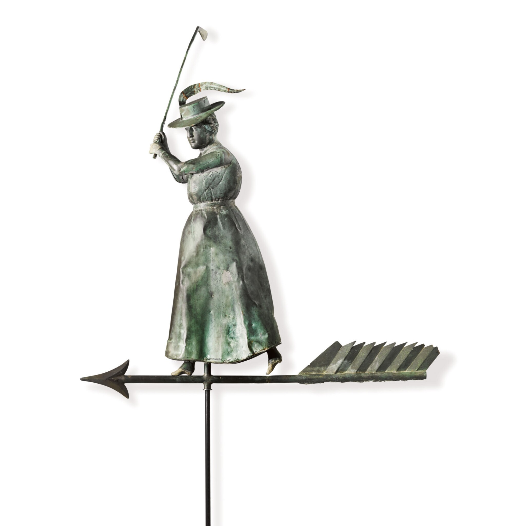 View full screen - View 1 of Lot 14. VERY FINE AND RARE MOLDED FULL BODIED SHEET COPPER AND ZINC STANDING FEMALE GOLFER WEATHERVANE, CIRCA 1900.